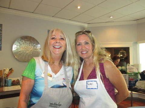 Betty Bauman and Lori Lambert at Ladies, Let\'s Go Fishing cooking class_resize