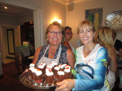 Robin Krueger and Barb serve chocolate mousse at Ladies Let's Go Fishing cooking class_resize