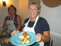 Amy Woulff with the dinner at Ladies Let\'s Go Fishing cooking class_resize